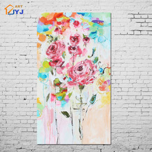 Flower Canvas Painting Picture Wall Art Home Decoration Hand painted Modern Abstract Oil Painting on Canvas Gift Unframed A033(China)