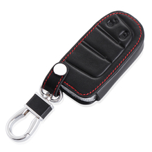 Car keychain Leather car key cover For Dodge Journey JCUV For JEEP Grand Cherokee Wrangler Commander Compass,2 Buttons smart key(China)