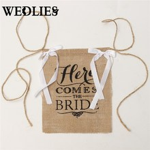 Wedding Burlap Banner Natural Jute Khaki Fabric Here Comes The Bride Flags For Celebration Decoration 220x220mm