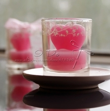 Free Shipping Pink Heart Candle in Glass Vase Wedding Decoration Party Supplies (Set of 4)