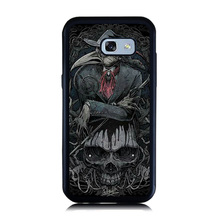 Luxury Animal Crow Skull Head Art Paint Cell Phone Cases For Samsung A5 2017 Case For Galaxy A3 A7 A8 Phone TPU + Plastic Coque