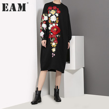 Buy EAM 2018 new spring round neck long sleeve black loose flower embroidery solid color big size dress women fashion tide JC83001 for $26.97 in AliExpress store