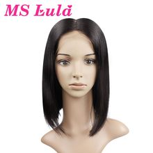 "MS Lula Lace Front Human Hair Bob Wigs Medium Size Middle Part 10"" 14"" Brazilian Remy Hair Natural Color(China)"