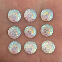 (30 pieces/lot) white AB round Resin flower Flatback scrapbook Wedding decoration Buttons D444(China)
