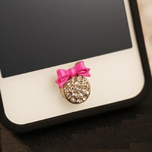 Lovely cute crystal rhinestones diamond bling red pink buttery bow phone home return key button sticker for iPhone Samsung Sony(China)