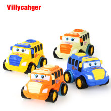 1 Pcs Children Toys Colorful Mini Inertia Model Bus  Cartoon toy Push and Go Friction Toy  Gift  for boy 1-3 years