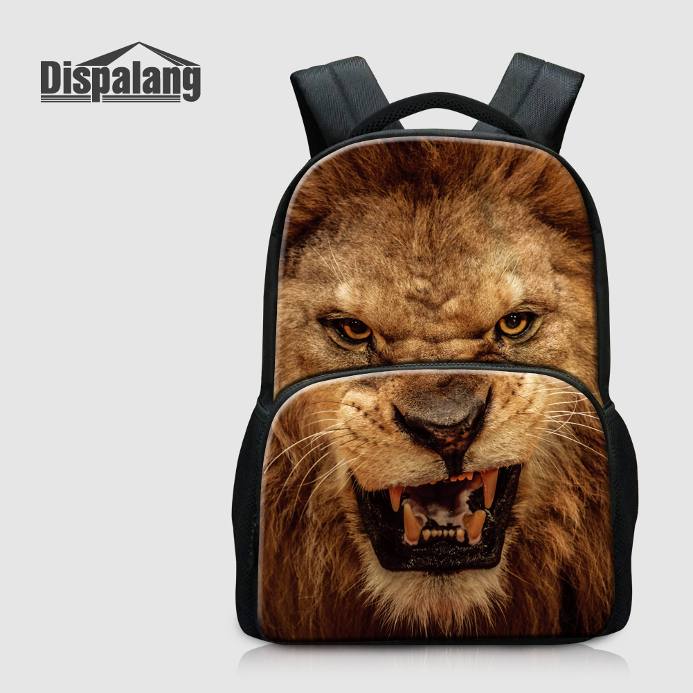 Dispalang Zoo Animal Lion Boys School Bag Men Outdoors Backpack For Laptop Child Mochila Escolar Travel Knapsack Cotton Rucksack<br>
