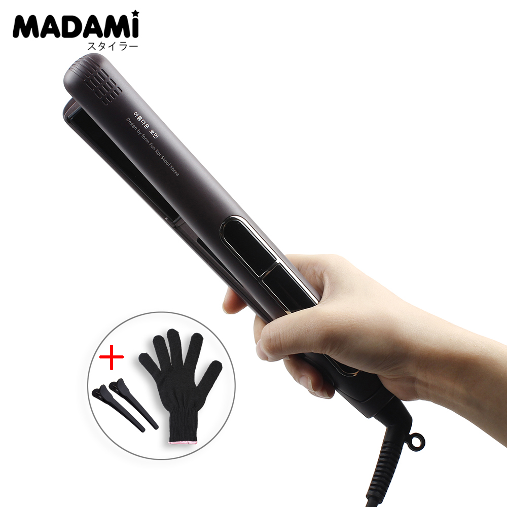 Electric Chapinha Hair Straightener 1 Inch Flat Iron Ceramic Tourmaline Plated LCD Display 230 Celsius 220V Coffee Color<br>