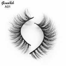 Genailish Mink Lashes 3D Mink Eyelashes High Quality Real Natural False Eyelashes 1 pair Handmade Fake Eye Lashes Extension -A01(China)