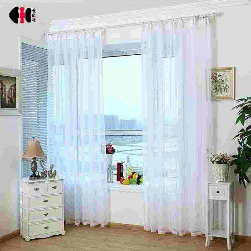 Pure White Transparant Solid Sheer Tulles New Home Decoration High Thread Modern Voile Single Panel For Bedroom Cortina WP184D