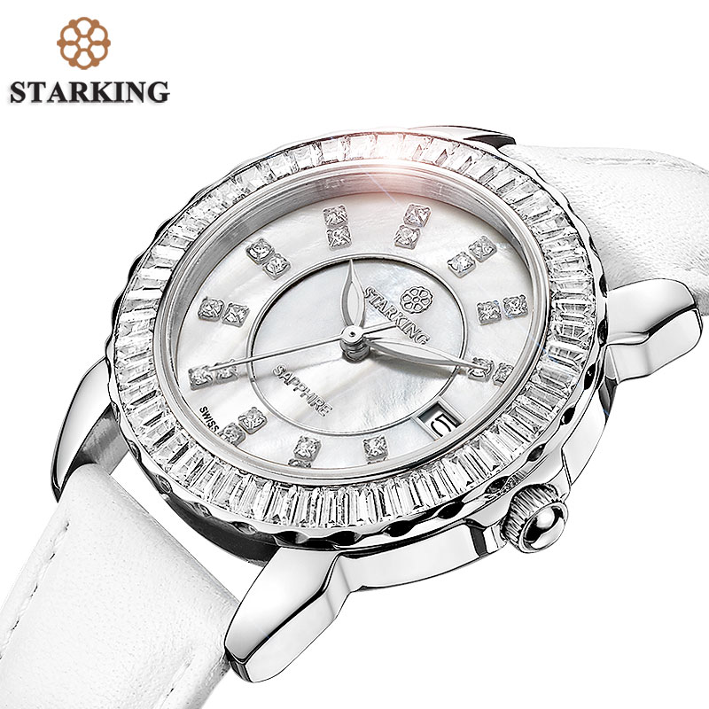 STARKING Famous Brand Watches Women Import Movt Luxury Brand Watches Female Clock White Full Crystal Fashion Casual Wristwatch<br>