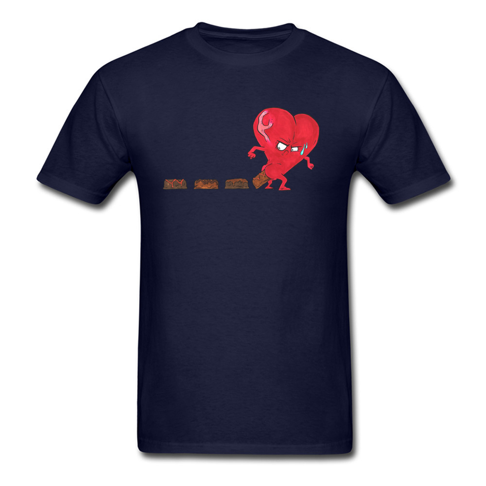 Design Chocolate Filled Heart Geek Short Sleeve Autumn Tops & Tees Wholesale Round Collar Cotton Fabric Tee Shirts Boy T Shirts Chocolate Filled Heart navy