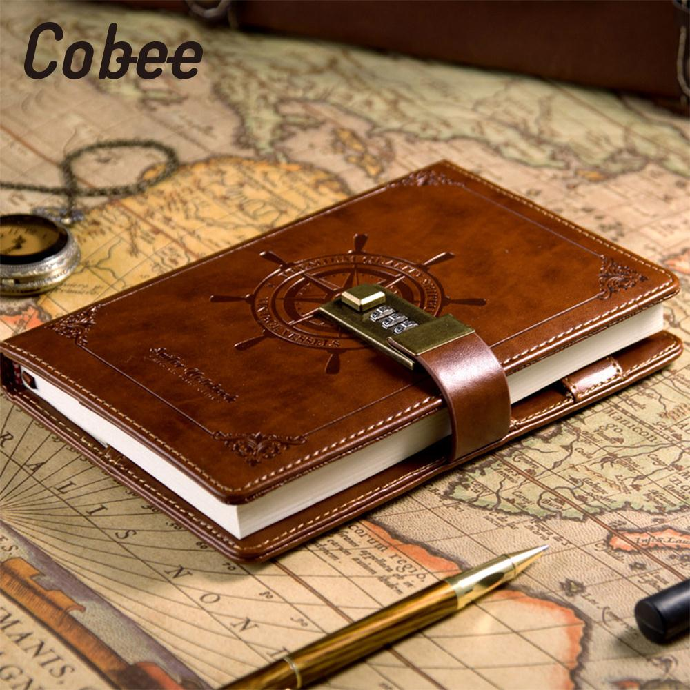 Cobee Cobee Lock diary notebook travel journey  Notebook Diaries Rudder Diary Notebook School Journals PU Brown<br>