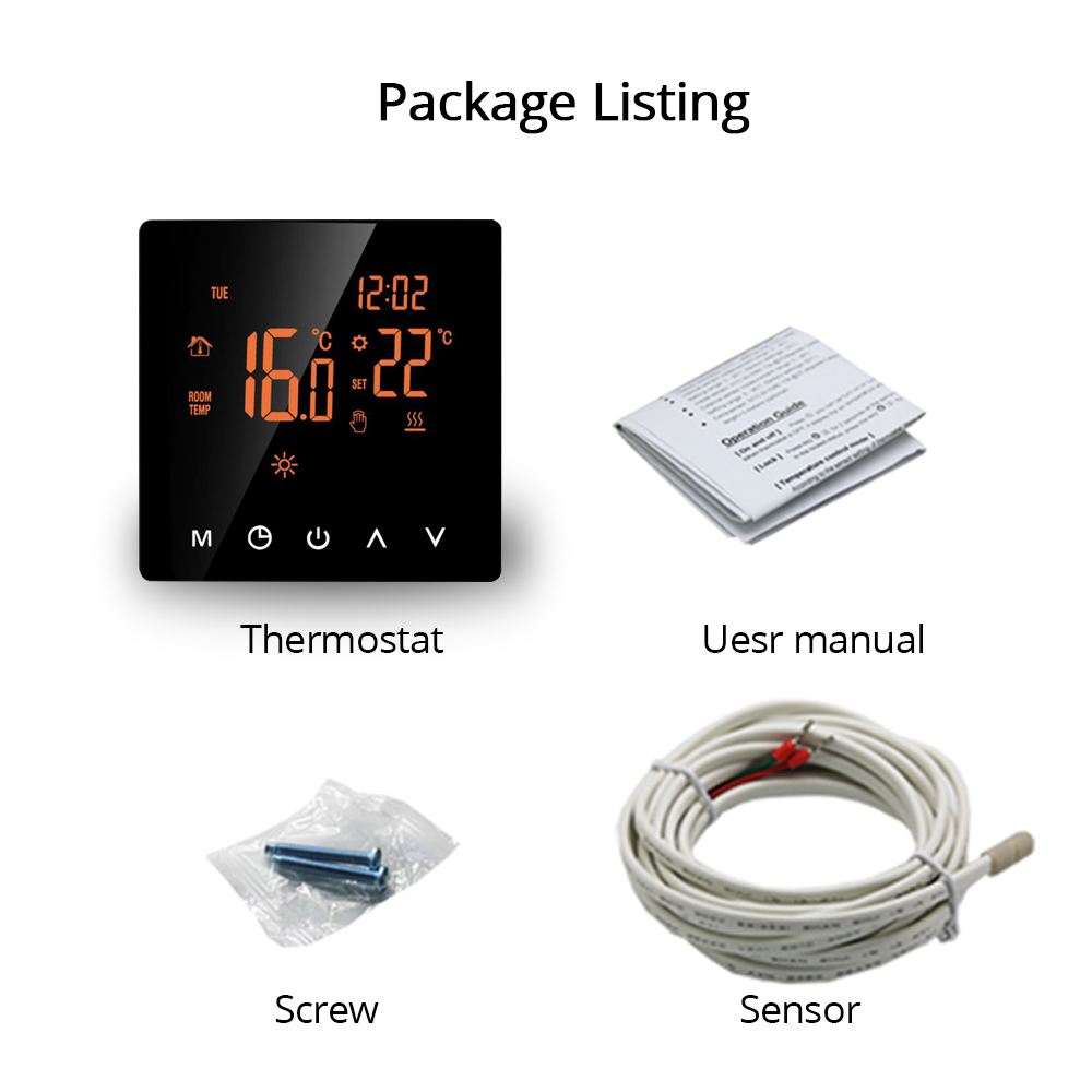 Heating Thermostat for Electric Floor Heater with LCD Touch Screen Weekly Programmable(2)