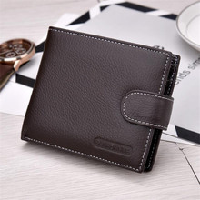 High Quality Genuine Cow Leather Simple Design Coffee/Black Men's Mini Wallet European And American Style Men Small Pocket Purse(China)