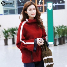 JOYDU 2018 New Spring Runway Design Oversize Sweater Women Flare Sleeve Side Striped Turtlenec Chic Pullover Sweaters Jumper Top(China)