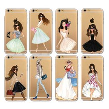 Beautiful Fashion Girl Cases For iPhone 5 5c 6 6Plus7 7Plus Transparent hard plastic Case Cover Girl Dress Shopping Design(China)