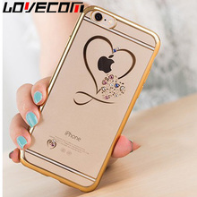 Clear Phone Cases For iphone 7 Case Ultra Thin Soft TPU Crystal Heart Plating Diamond Cover For iphone 6 6s Plus 7 7 Plus Shell