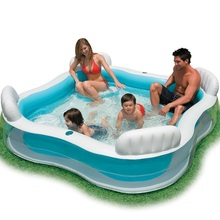 Inflatable Swimming Pool backrest with seat family swimming pool inflatable pool square Summer baby swimming pool 56475