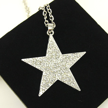 Cheap Silver Plated Super Star Necklace Crystal Necklace Pendants Women Long Necklace Men Fashion Bijoux Gifts nkek26