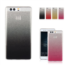 For Huawei P9 Case Coque Cover Silicon Glitter Shiny Bling TPU Skin Gel Mobile Phone Bag For Huawei P 9 Etui Capinha Hoesje Capa(China)