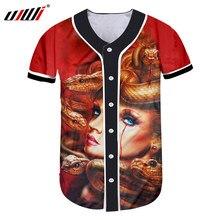 UJWI Baseball Jersey Hommes de 3d Imprimé Tête de Méduse Serpent Boutons T-shirt  Homme À Manches Courtes O Cou Baseball Chemise . 7d1d16b4a2e