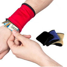 1PC Hot Popular Sweat Absorbing Zipper Opening Polar Fleece Unisex Wrist Wallet Cuff Key Case