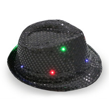 1pc Cool LED Light Jazz Hat Blinking Flashing Sequin Cap Woman Men Adult Glow Christmas New Year Birthday Party Supplies(China)