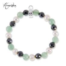 Thomas Style Charm Bracelet with Pearl, Hematite and Aventurine Beads, Width:0.8cm, European TS Style Fine Jewelry TS B602