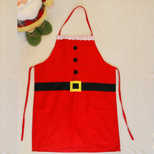 2PCS Christmas Decoration Santa Apron Kitchen Cooking Baking Chef Red soft reusable waterproof  Apron  kids apron + adult apron
