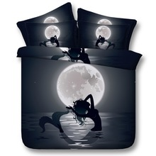Royal Linen Source 4 Parts Per Set Bed Sheet Set Beautiful Cartoon Mermaid in the Moonlight Bed  Sets