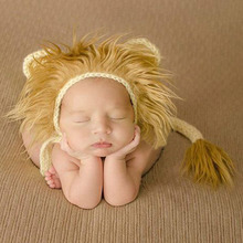 2017 Cool Baby Lion Hat and Tail Set Animal Pattern Baby Costume Photo Props Infant Beanie Cap  Newborn Crochet Outfits