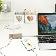 Multifunction 6-Ports Usb 3.1 type c HUB SD Card Reader U-disk 4K HDTV 0.5ft USB Data Cable for Macbook Pro Mac PC Laptop