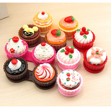 2017 Cartoon Ice Cream Cake Travel Glasses Contact Lenses Colors Box Contact lens Case for Eyes Care Kit Holder Container Gift