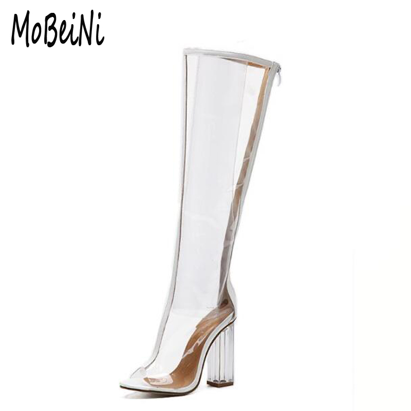 summer boots Peep Toe knee high sandals boots Transparent crystal boots clear heels womens high heels shoes woman pumps D116<br>