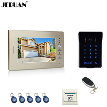 JERUAN Luxury 7`` TFT video door phone intercom system RFID new waterproof touch key password keypad camera +remote control