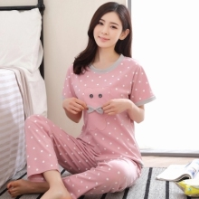 Plus Size XXL 2017 summer sleepwear women pajamas sets v-neck cartoon short sleeve pajama suit  women homewear suit soft