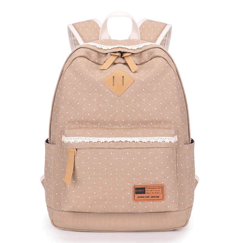 2017 new khaki cloth bag light blue dots ladies backpack mochila women canvas backpack laptop bag  white lace bags for girls<br><br>Aliexpress