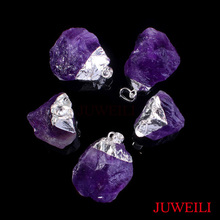 JUWEILI Jewelry Retail 1x Silver Color Different Natural Original Stone Druzy Energy Pendant Necklace(China)