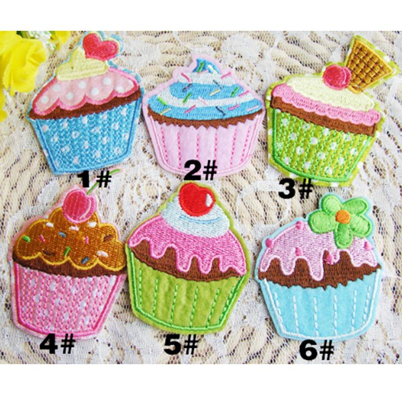 Cartoon ice cream Lin cake center made cloth 100%(6pcs)Made of Cloth iron on patches ironing felt applique clothes embroidery(China (Mainland))