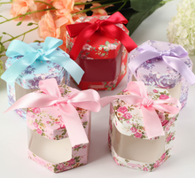100pcs Creative Hexagonal Floral Wedding Favors Bomboniera Candy Boxes Chocolate Paper Gifts Box, white, red, pink, purple, blue
