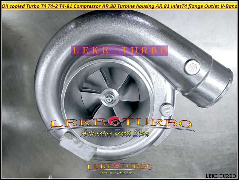 BEST Turbo T4 T4-2 T4-81 Oil cooled Turbine Turbocharger Compressor AR.80 Turbine housing AR.81 Inlet T4 flange Outlet V BAND (1)