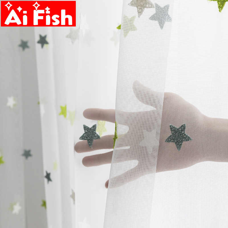 Green mesh towel embroidery Star window screen tulle for living room children cartoon curtains balcony bedroom sheer  M065-40
