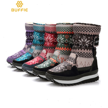 New 2017 Winter Half Snow Boots Women Waterproof Portable Fur Non-Slip Keep Warm Thick Buckle Woman Snowflake Boots Shoes Woman