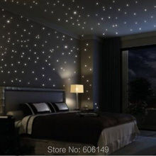 100000PCS X Wholesale Glow in the Dark Stars Space Stellar Wall Decals Stickers For Kids Bedroom Free shiping(China)