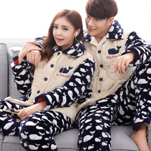 Brand Winter Couple Flannel Women's Pajamas Set Coral Fleece Cartoon Sleepwear Mens Pyjamas Mujer Lady Casual Home Clothing(China)