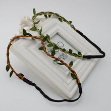 DIY materials wholesale simulation green leaf vine wreath seaside tourism headband bridal photo shoot props(China)