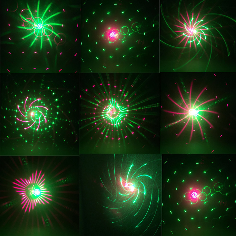 Thrisdar 20 Pattern RG Christmas Laser Projector Light Outdoor Red Green Christmas Landscape Spotlight Bar DJ party Stage Light<br>