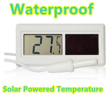 Potable Waterproof Digital LCD  Solar Powered Temperature Thermometer Sensor Hydrothermograph With Cable for Household 40%off