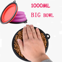 1000ml Portable Outdoor Travel Pet Dog Bowl Silicone Folding Bowls Food Drinking Water Pet Product Bowls(China)